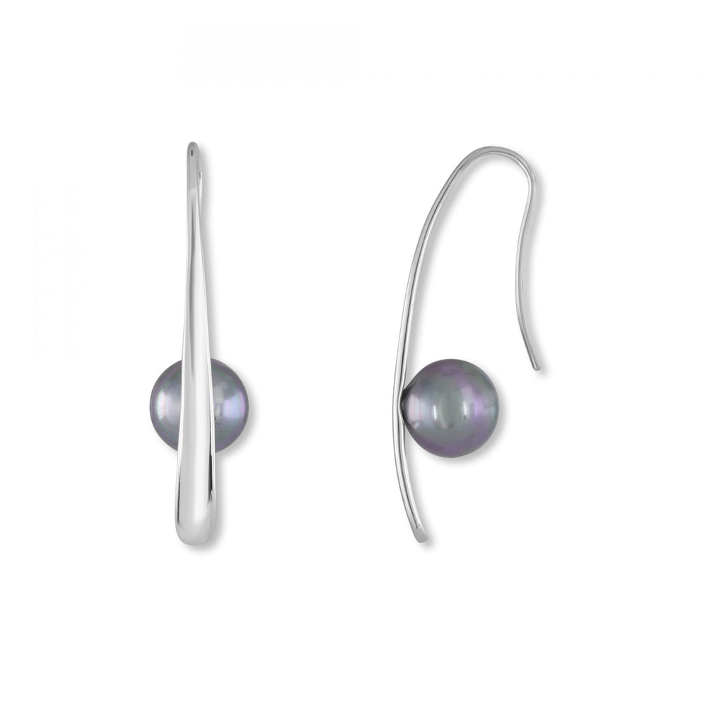 Pearl Bar Earrings - Gray Pearls