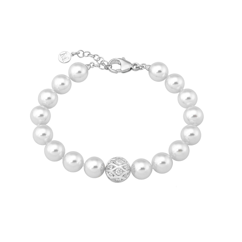10MM WHITE PEARLS & CZ SPHERE BRACELET
