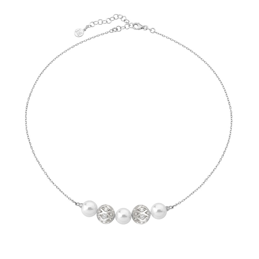 WHITE PEARLS & CZ SPHERE NECKLACE