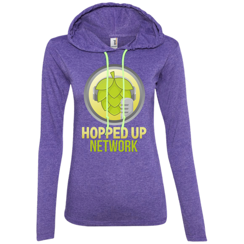Hopped Up Network Ladies' LS T-Shirt Hoodie Heather Purple/Neon Yellow / Small - MyMerch.us