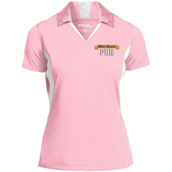 86th Street Pub Ladies' Colorblock Polo Light Pink/White / Small - MyMerch.us