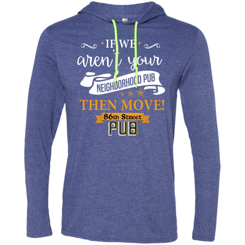 86th Street Pub Slogan T-Shirt Hoodie Heather Blue/Neon Yellow / Medium - MyMerch.us