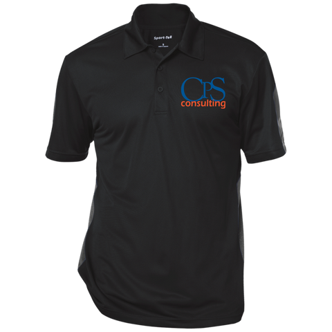 CPS Consulting Performance Textured Three-Button Polo Black/Gray / Medium - MyMerch.us
