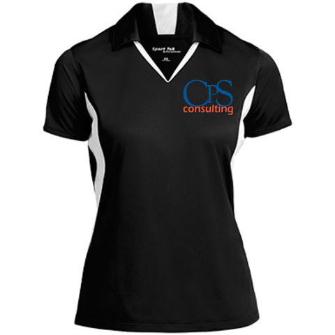 CPS Consulting Ladies' Performance Polo Black/White / Small - MyMerch.us