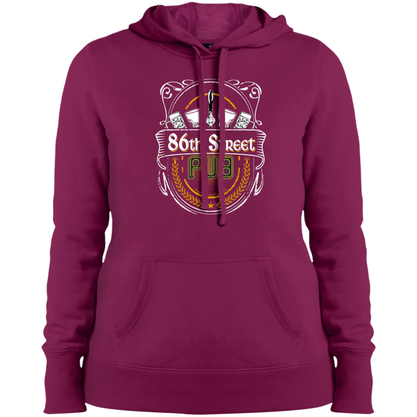 86th Street Pub Crest Ladies' Hoodie Pink Rush / Small - MyMerch.us
