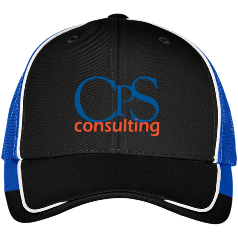 CPS Consulting Colorblock Mesh Back Cap Black/True Royal - MyMerch.us