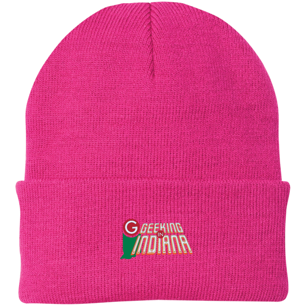 Geeking in Indiana Knit Hat Neon Pink / One Size - MyMerch.us