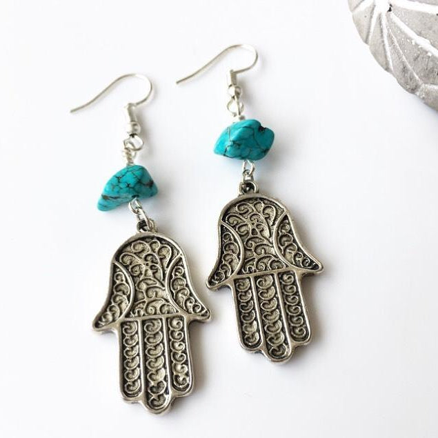 Turquoise Hamsa Hand Protection Earrings