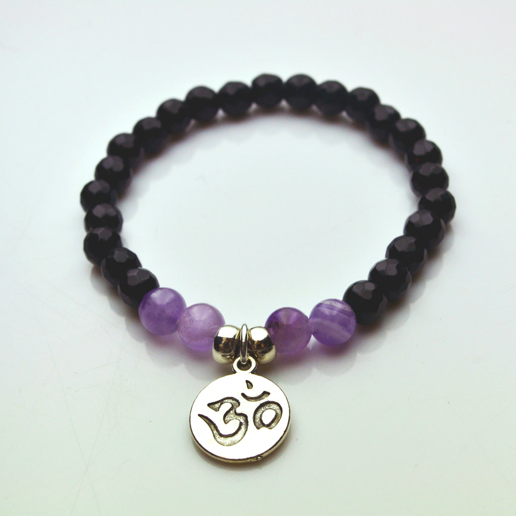Black Onyx and Amethyst Om Bracelet - Lost Cosmos