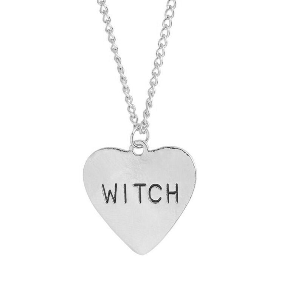 Witch Engraved Heart Pendant