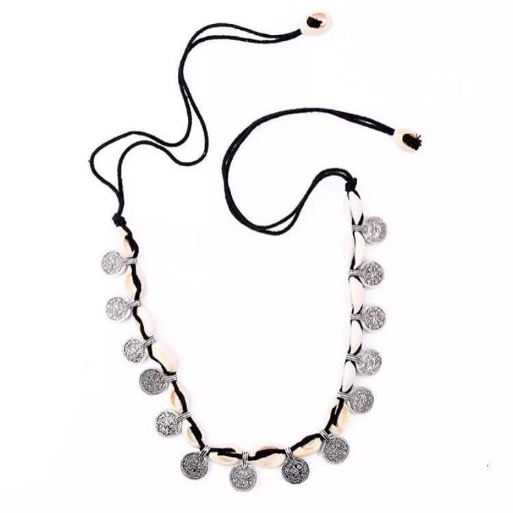 Kuchi Cowrie Shell and Coin Choker-Lost Cosmos