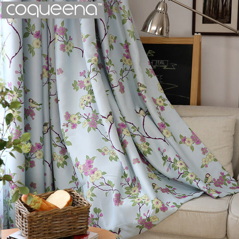 Sale Birds Floral Ready Made Custom Curtains For Living Room Bedroom Blackout Curtain Shade Blinds Window