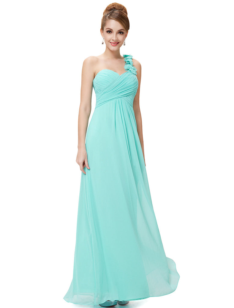 Cheap Long Evening Dresses Flowers One Shoulder Chiffon Padded ...