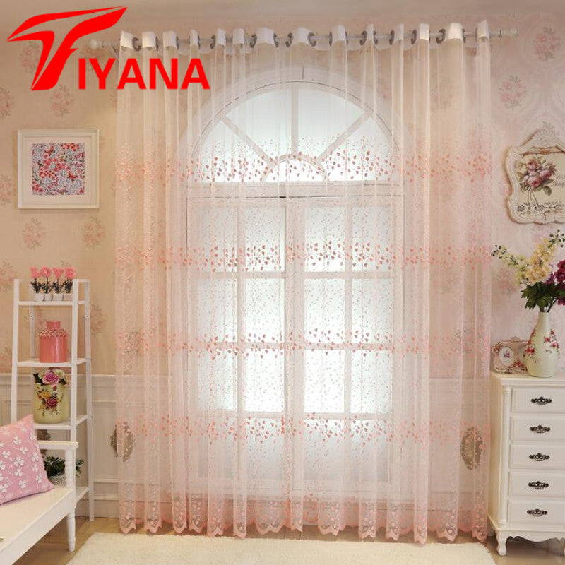 Embroidery Flowers Lace Curtains For Living Room Bedroom Sheer Kitchen Curtain Window Treatment Screen Pink White