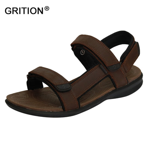 Sale GRITION Men Outdoor Sandals Genuine Cow Leather Summer Shoes Casual Shoes  Men Slippers Walking Beach Sandal