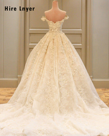 Sale NAJOWPJG Newest Off The Shoulder Short Sleeve Gorgeous Appliques Flowers Ball Gown Wedding Dress 2018 Real