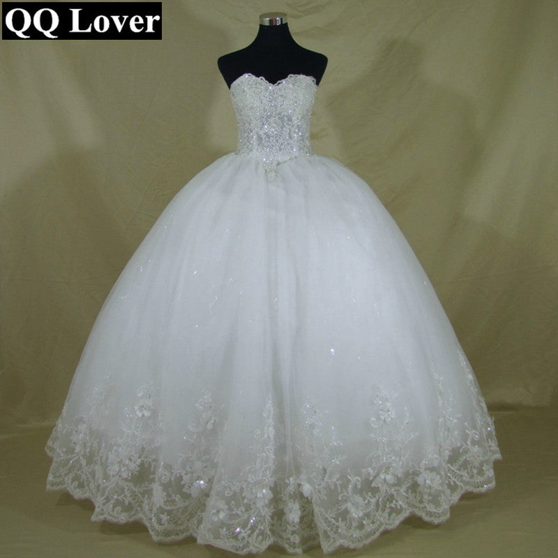 QQ Lover 2018 New Bling Bling Pearls Beaded Ball Gown Wedding Dress ...