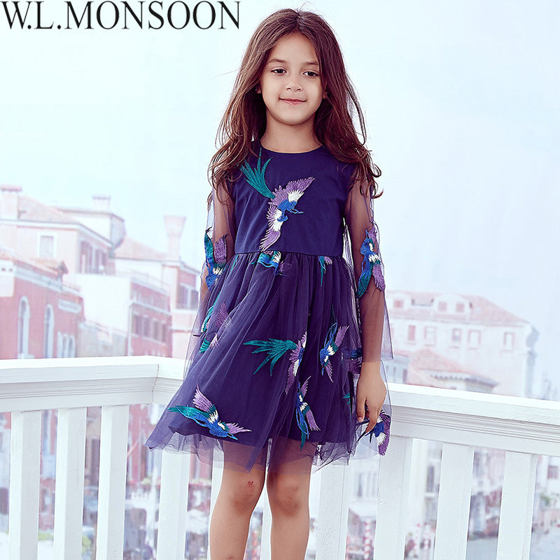 W.L.MONSOON Girls Dress Bird Embroidered 2017 Brand Princess Dress ...