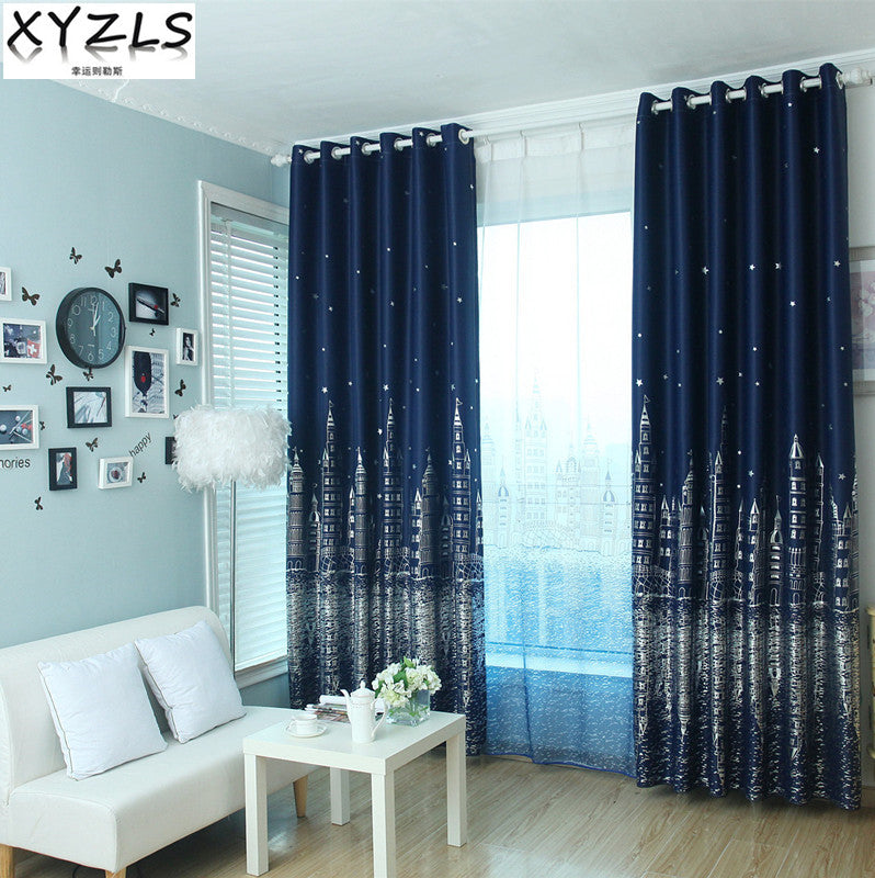 XYZLS Outlet 3D Castle And Star Blinds Blackout Curtains Tulle Curtain For Living Room Bedroom Shade