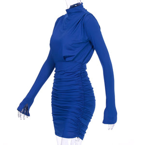 Long Sleeved Ruched Mini Dress
