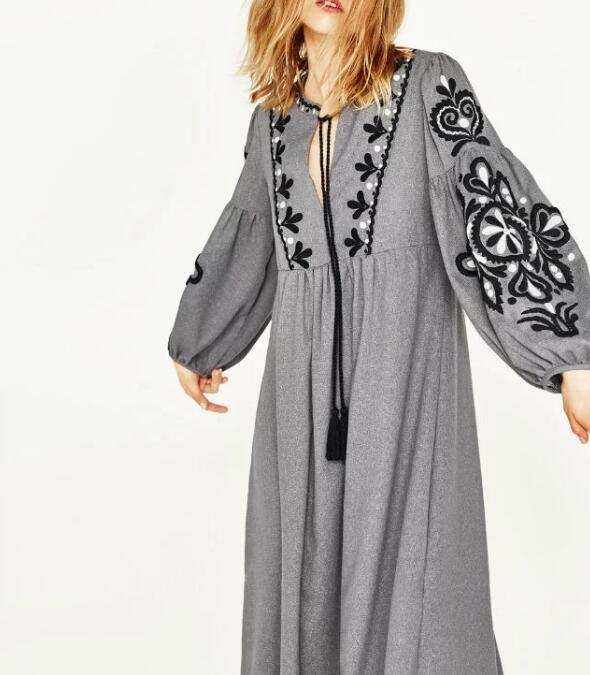 Gray Bohemian Dress with Black and White Embroidery
