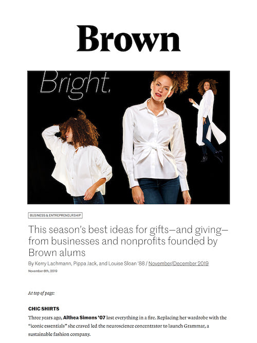 Grammar in Brown Alumni Magazine- sustainable gift giving