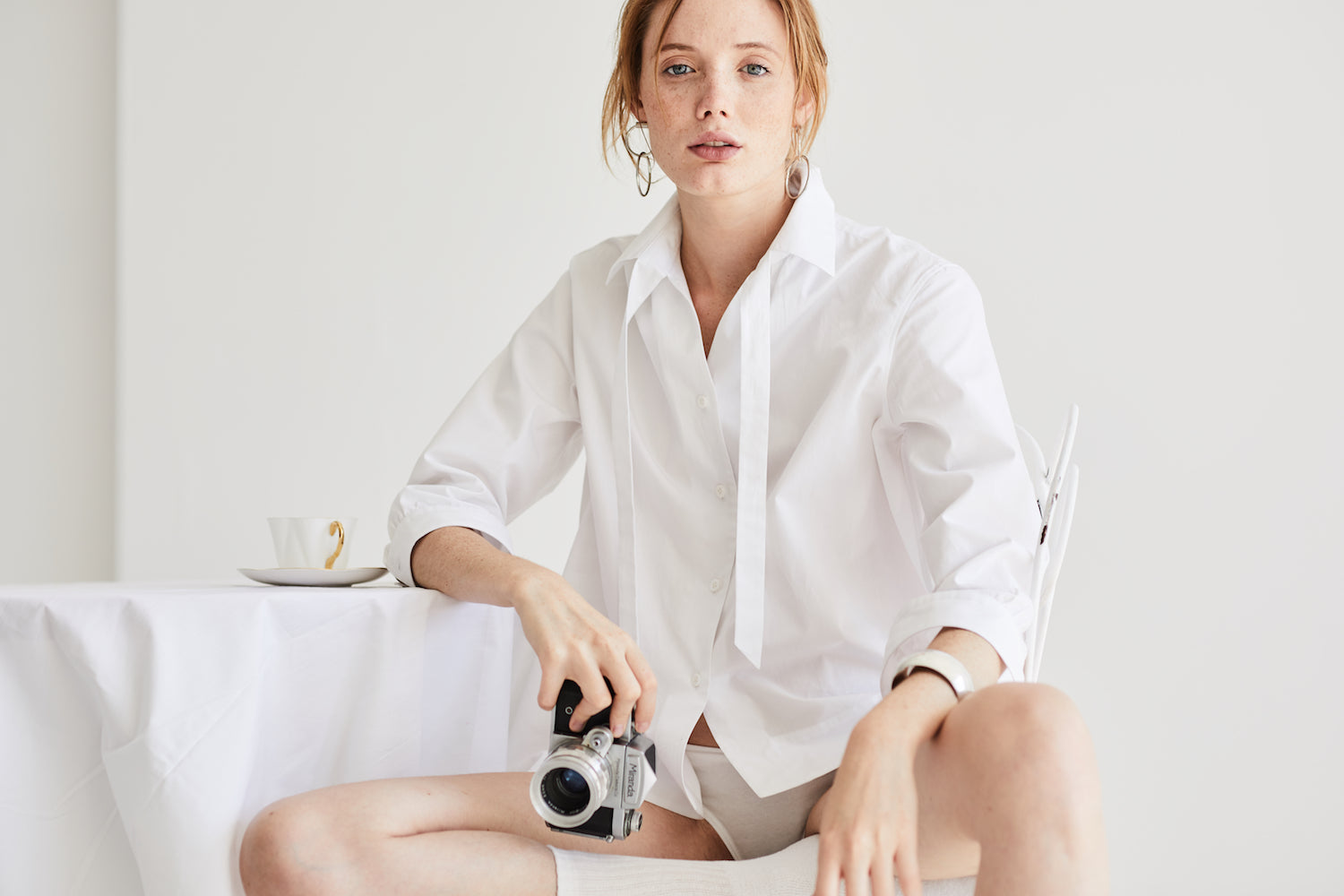 Preposition white shirt by Grammar NYC sustainable fashion organic cotton