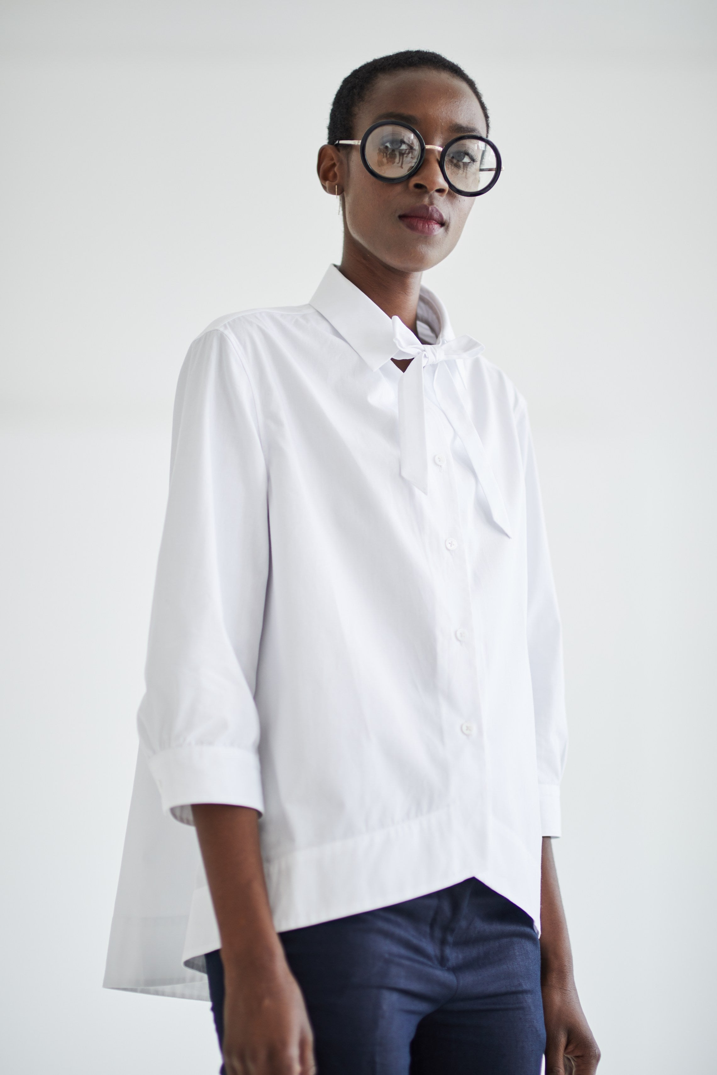 Preposition white shirt by Grammar NYC sustainable fashion organic cotton Ethical Unicorn Francesca Willow