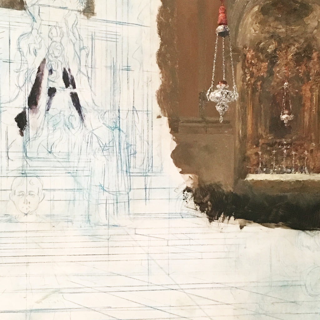 Adolph Menzel detail of Altar in a Baroque Church oil and blue pencil on oak
