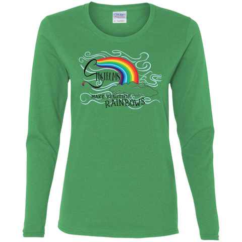"""Spectrums Make Beautiful Rainbows"" Ladies' Long-Sleeve Tee"