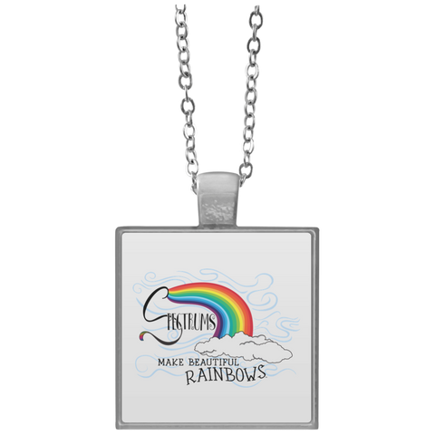 """Spectrums Make Beautiful Rainbows"" Square Necklace"