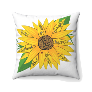 """Simply Be"" (Sunflower) Square Pillow"