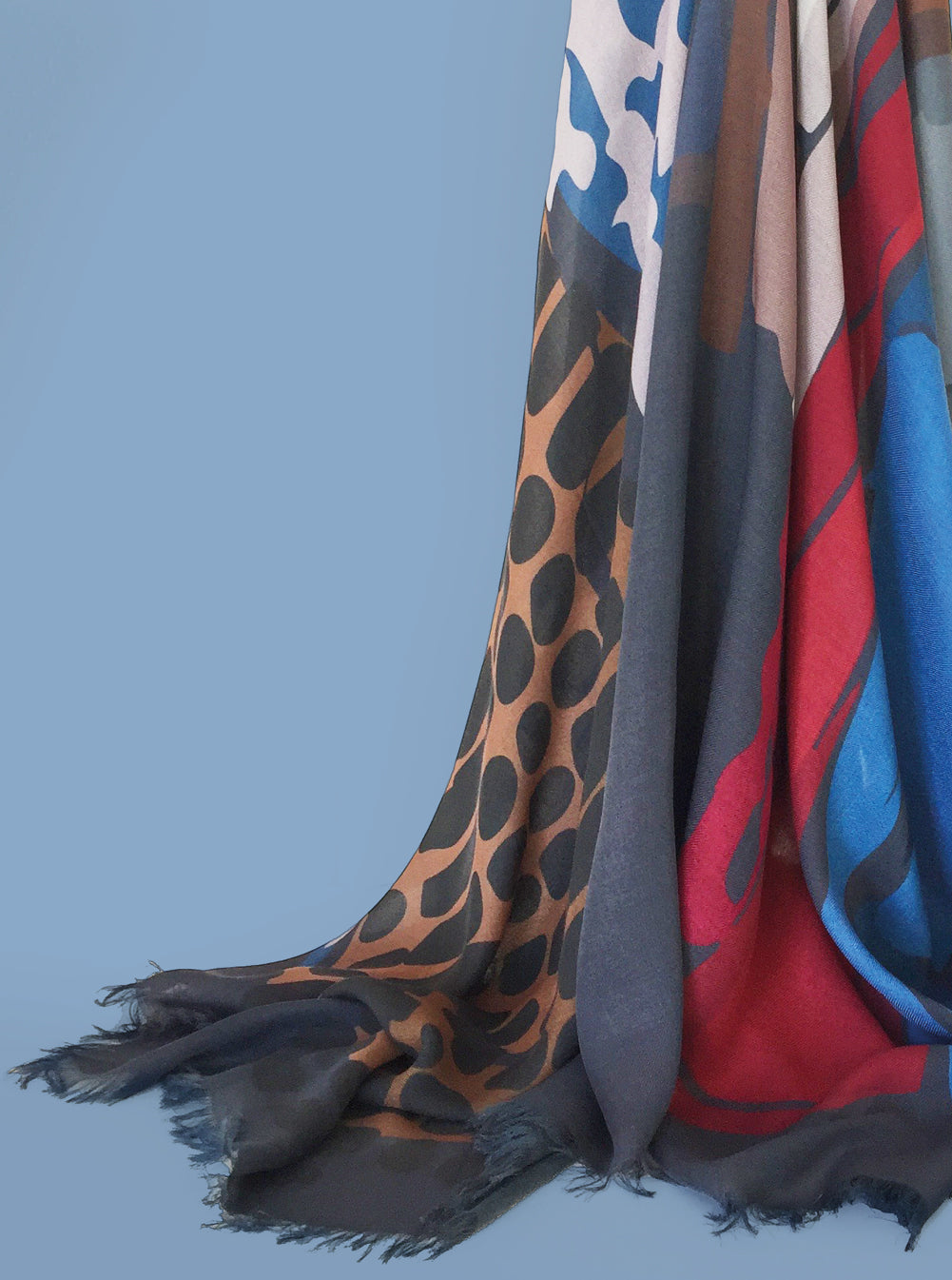 RED BLUE RUNWAY ~ Large Cashmere Blend Scarf