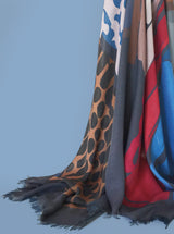 RED BLUE RUNWAY large cashmere-blend scarf