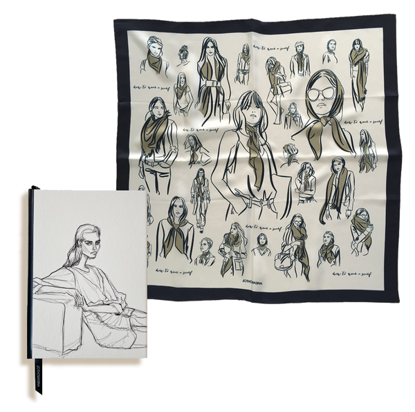 Silk scarf + Sketch Book gift set
