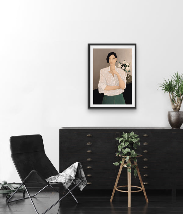 'GIRL WITH ROSES' giclée print