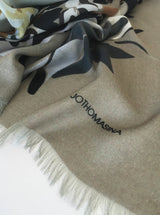 GREIGE, BLACK AND WHITE large cashmere-blend scarf