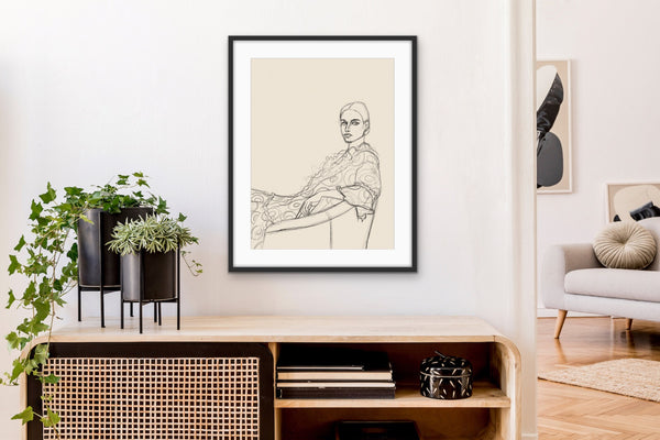 'SKETCH OF GIRL IN CHAIR' giclée print