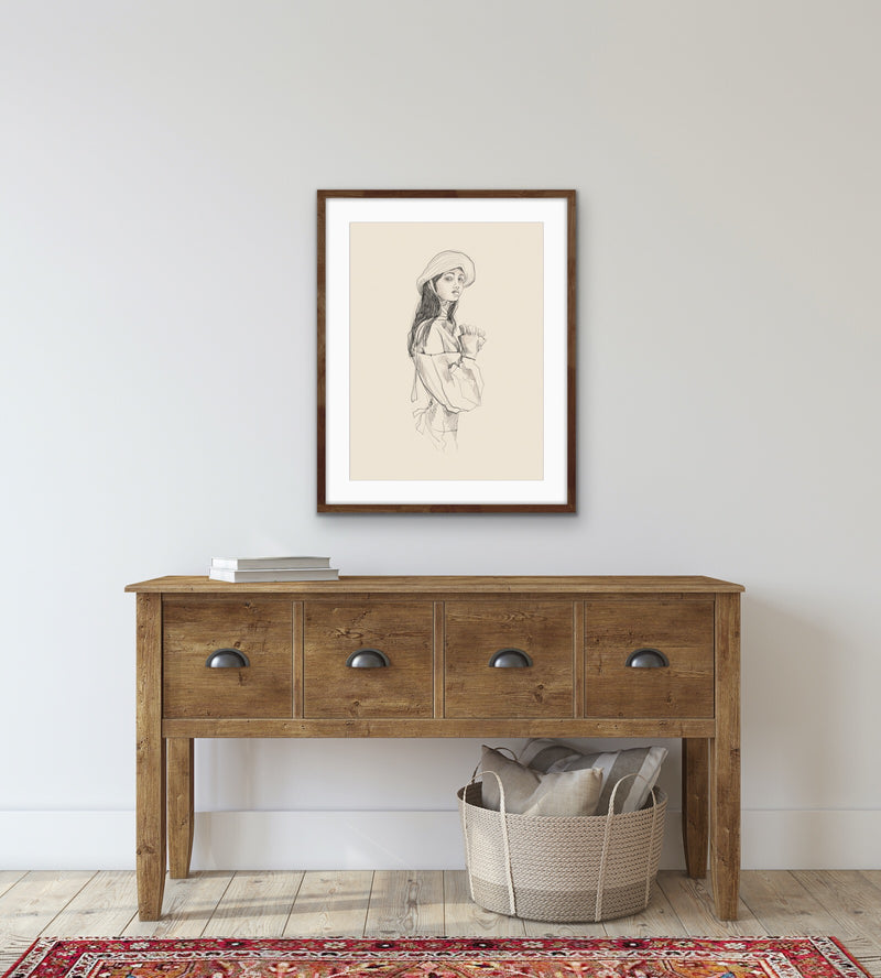 'SKETCH OF GIRL IN HAT' giclée print