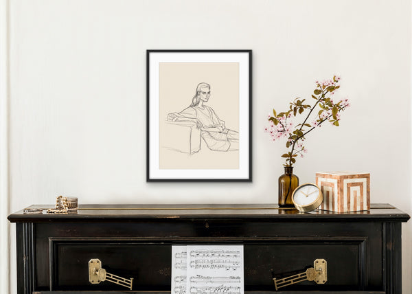 'SKETCH OF GIRL WITH OTTOMAN' giclée print