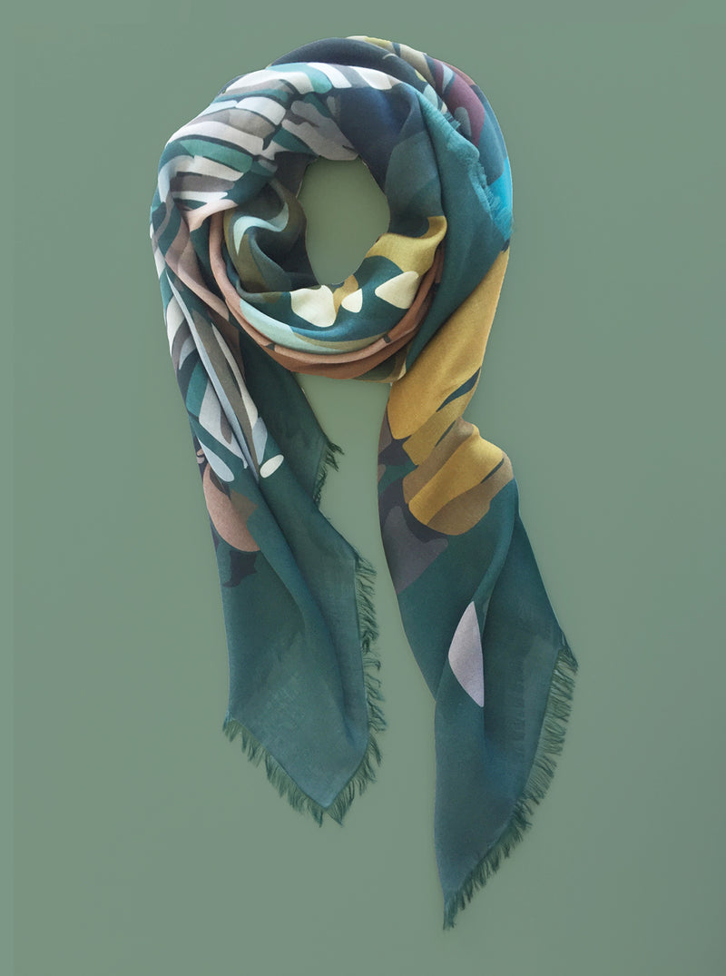 TOTALLY TEAL large cashmere-blend scarf