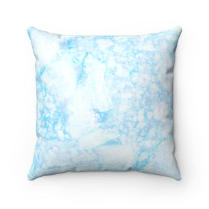 Light Blue Marble Faux Suede Square Pillow