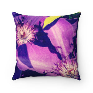 Violet Stars Faux Suede Square Pillow