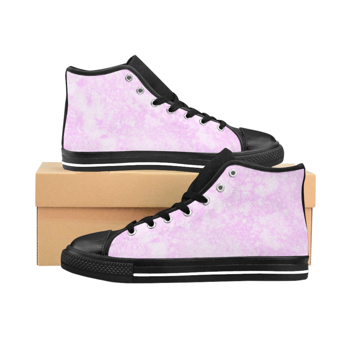 Light Pink Marble Women's High-top Sneakers