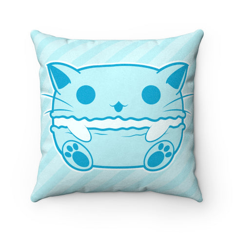 Blue Cat Macaroon Faux Suede Square Pillow