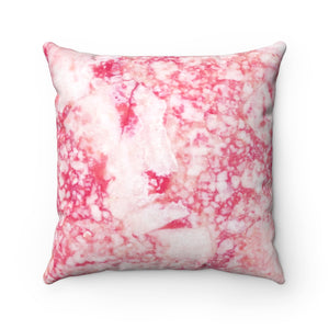 Red Marble Faux Suede Square Pillow