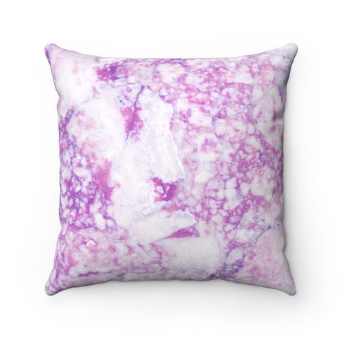 Light Purple Marble Faux Suede Square Pillow