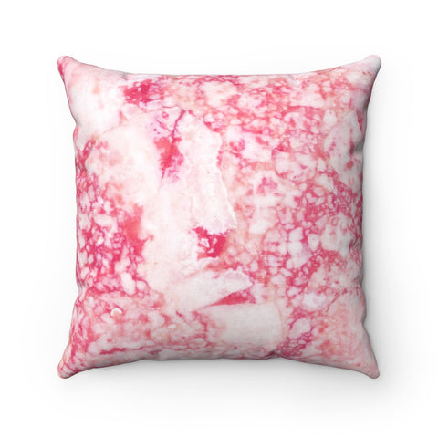 Red Marble Spun Polyester Square Pillow