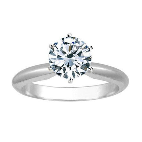 .85 Carat Round Cut Diamond Solitaire Engagement Ring 14K White Gold 6 Prong