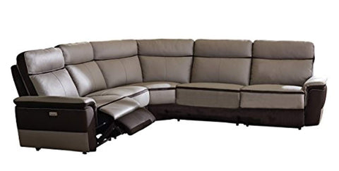 Laertes Two-Tone Power Reclining Sectional Sofa Top Grain Leather Fabric Match, Light Grey